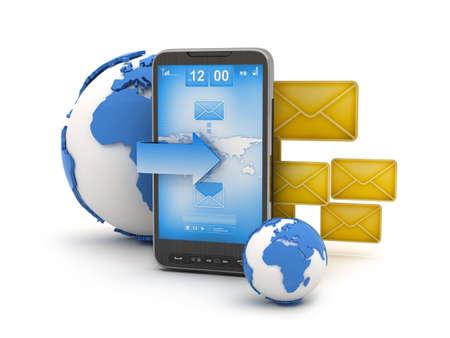 Short Message Service  SMS  - mobile technology illustration Stock Photo