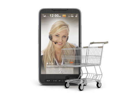 Mobile shopping - cell phone and cart photo
