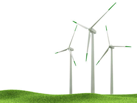 Wind turbines isolated on white background photo