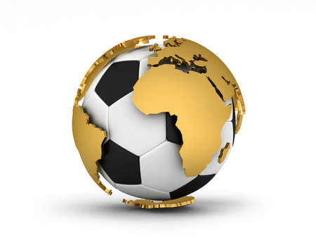 Soccer ball as the planet earth photo