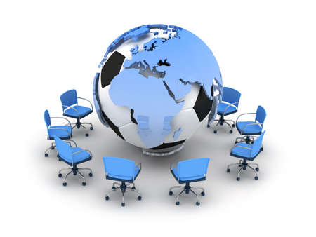 Abstract illustration - soccer ball, earth globe and office chairs illustration
