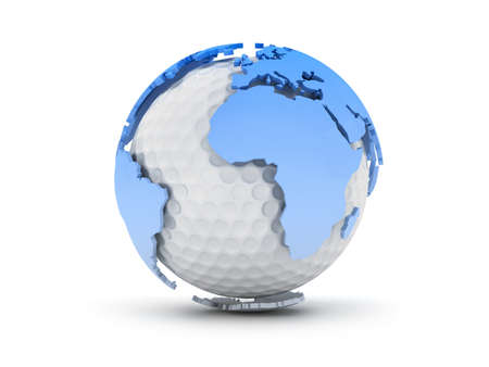 Golf ball and world continents - abstract illustration Stock Photo