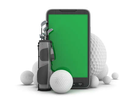 Golf equipment and mobile phone Stock Photo
