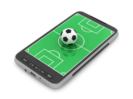 Football - soccer ball and mobile phone on white background photo