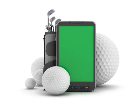 Golf equipment and cell phone on white background Stock Photo