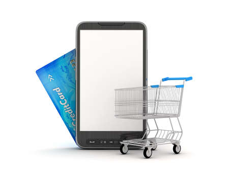 Online Shopping by mobile phone - concept illustration illustration