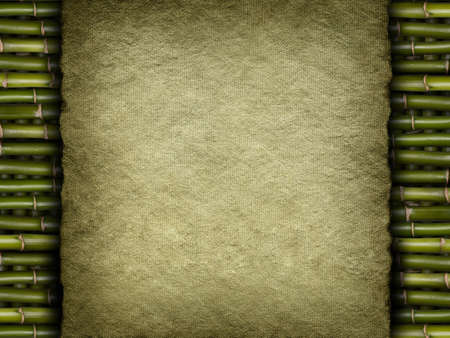 Template background - old handmade paper sheet on bamboo photo