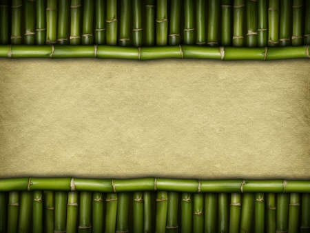 Template background - handmade paper and bamboo Stock Photo - 15462252
