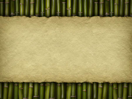 Crumpled paper sheet on bamboo background photo