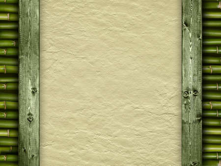 Template background - handmade paper and bamboo photo