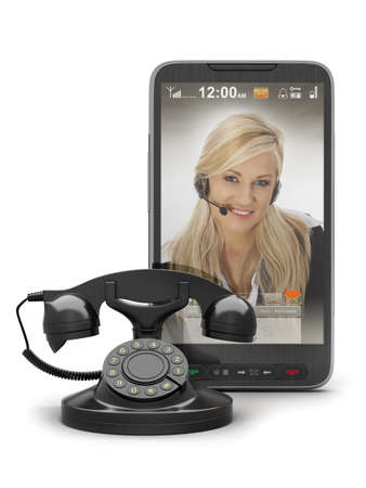 Retro telephone and cell phone with woman on screen photo