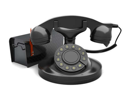offiice: Rotary phone and mailbox on white background Stock Photo