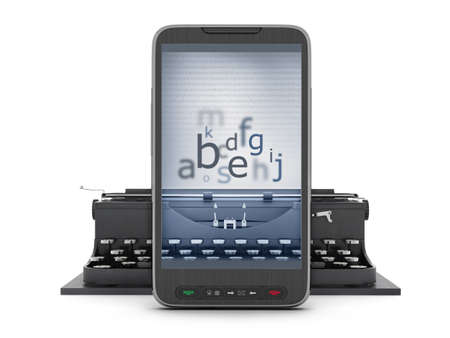 authorship: Typewriter and cell phone - concept illustration Stock Photo