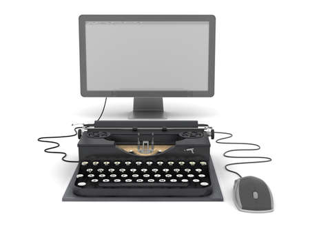 authorship: Retro typewriter, computer monitor and mouse Stock Photo