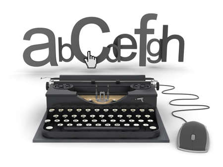 copywriting: Typewriter, letters and cursor hand - concept illustration