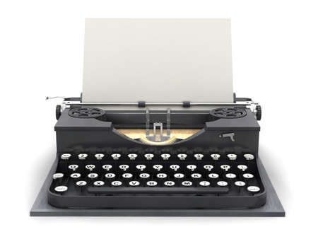 Retro typewriter and blank sheet Stock Photo - 16114968