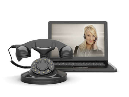 Woman on laptop screen and old rotary phone photo
