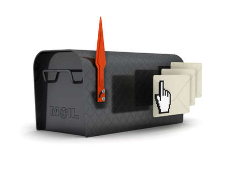 Mailbox, envelopes and cursor hand - concept illustration illustration