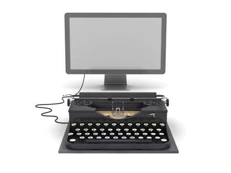 Retro typewriter and computer monitor Stock Photo - 16258823