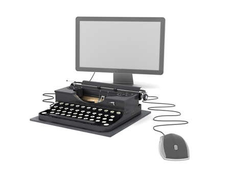 authorship: Typewriter, computer monitor and mouse