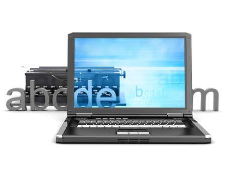 Retro typewriter, laptop and letters - concept illustration Stock Illustration - 16258825
