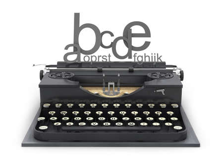 Typewriter and letters on white background photo