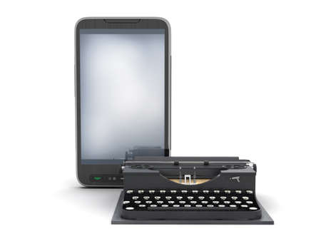 authorship: Retro typewriter and modern cell phone