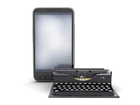 authorship: Retro typewriter and modern cell phone