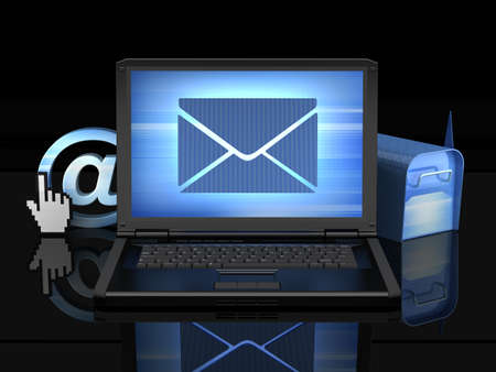 Laptop on black background - e-mail concept illustration  illustration