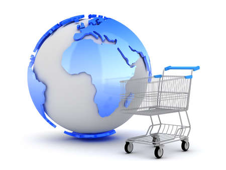 E-Shopping - Earth globe and shopping cart photo