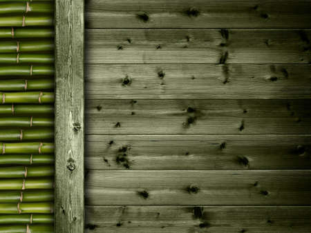 Bamboo and planks background photo
