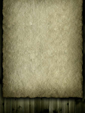 Jute or old paper sheet on plank background