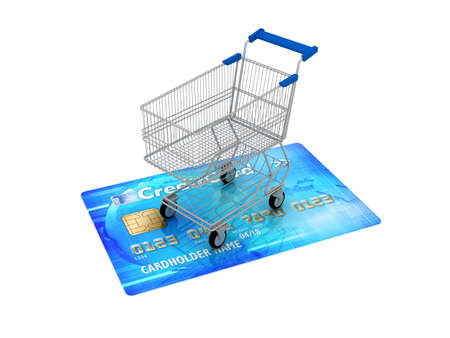Shopping cart on credit card - concept illustration illustration