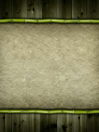 Bamboo, planks and canvas background photo