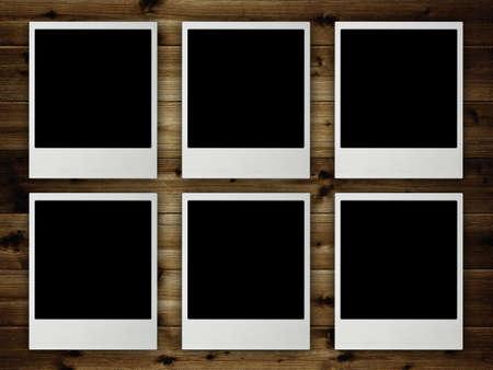 Template - Blank pictures on planks Zdjęcie Seryjne
