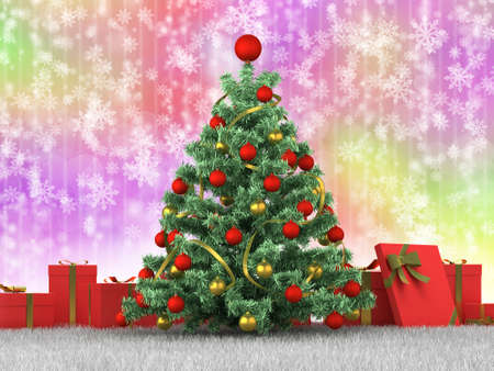 Christmas tree and gifts on a colored background photo