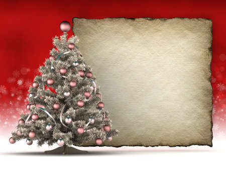 Christmas tree and blank handmade paper sheet  photo