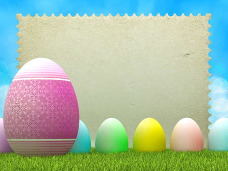 Easter background - eggs and blank paper sheet photo