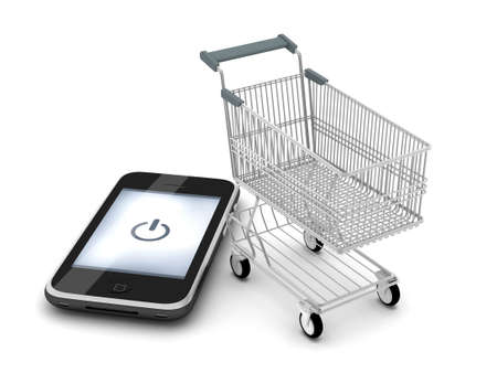 Cell phone and shopping cart on white background Stock Photo - 17201379