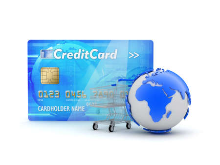 Credit card, shopping cart and earth globe - concept illustration Stock Illustration - 17564814