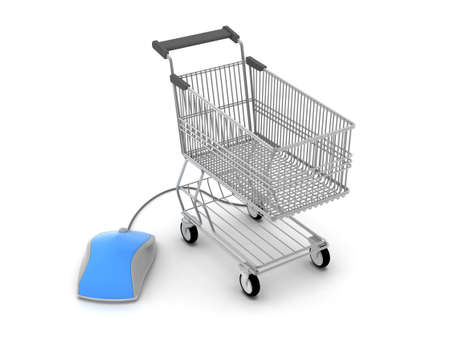 Shopping cart and computer mouse Stock Photo - 17564813