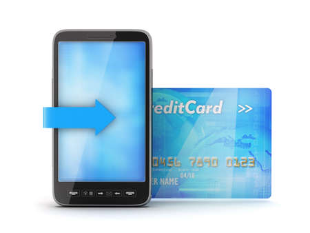 Mobile phone and credit card Stock Photo - 17564808