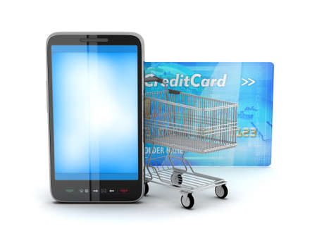 ecommerce: Shopping cart, credit card and cell phone