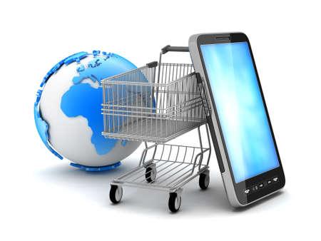 carrinho: Carrinho de compras, telefone celular e globo