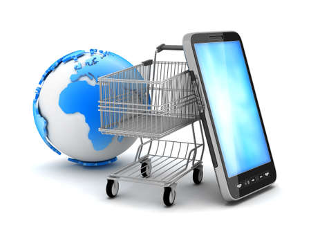 e shop: Shopping cart, cell phone and earth globe Stock Photo