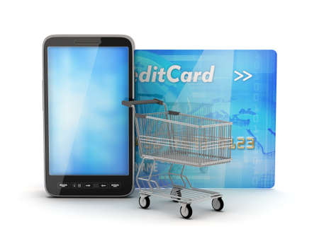 Smartphone, credit card and shopping cart photo