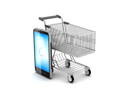 Shopping cart and cell phone Stock Photo - 17751096