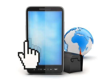 Mobile phone, cursor hand, mailbox and earth globe photo