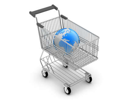 Shopping cart and earth globe photo