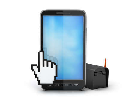 Cell phone, cursor hand and mailbox Stock Photo - 17980759
